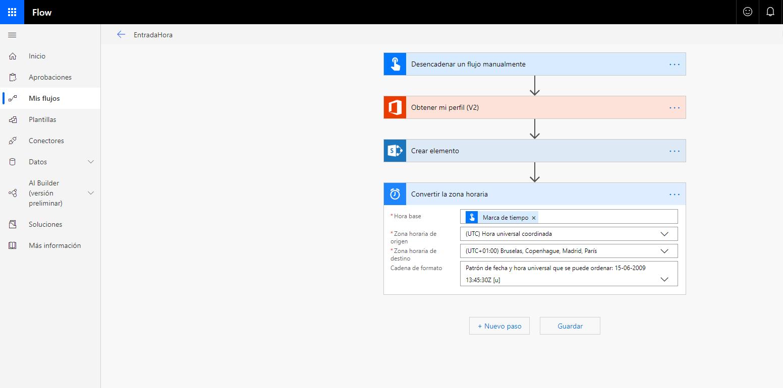 Fichar en el trabajo integrando Microsoft Flow y Sharepoint Online